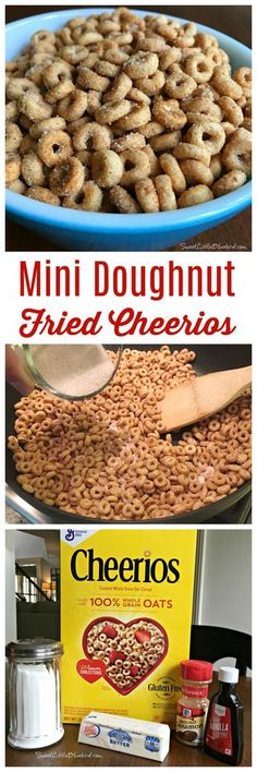 """Today I am sharing a sweet new twist on an old school classic snack, Mini Doughnut Fried Cheerios (aka, Mini Doughnut Hot Buttered Cheerios)! MINI DOUGHNUT FRIED CHEERIOS - Cheerios """"fried"""" in butter with a hint Yummy Snacks, Delicious Desserts, Snack Recipes, Cooking Recipes, Yummy Food, Tasty, Sweet Desserts, Hot Snacks, Catering Recipes"""