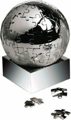 Desk Puzzle Globe as A Three-Dimensional 3-D globe made from metal in Stand