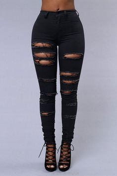Sexy Jeans, Womens Ripped Jeans, Grey Skinny Jeans, Ripped Skinny Jeans, Denim Skinny Jeans, Black Ripped Jeans Outfit, Ripped Women, Jeans Women, Women Pants