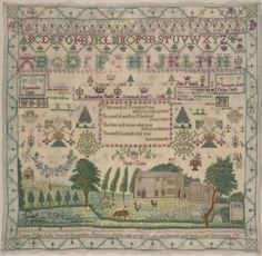 Susanna Gillies Smith - Scotland - 1832. Aged 11. Silk on wool: cross, satin, eyelet, stem, four-sided, back, double-running, split and fishbone stitches. Philadelphia Museum of Art - Collections Object : Sampler