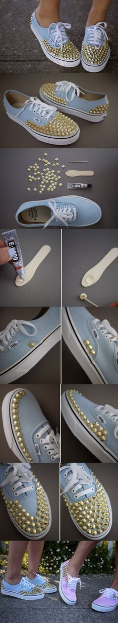 12 Interesting And Useful Dali DIY Ideas DIY Studded Sneakers These would be super cute for the girls