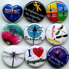 Dragonfly I Love Dragonflies pinback button set by Yesware11 on Etsy!