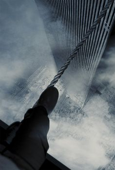 """Man on Wire"" Philippe Petit crossing on a tight rope between the Twin Towers, NYC 1974."