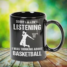 Sorry I Wasn't Listening I Was Thinking About Basketball Great basketball t shirt/mug/bag gift for family, friends, basketball players, basketball lovers or any women, men, girls, boys you know who loves basketball. Perfect basketball t shirt, funny basketball tshirts, Funny basketball Shirt for Men and Women, basketball shirt for women, basketball shirt for men, basketball gifts for teen girl boy. - get yours by clicking the link in my profile bio.