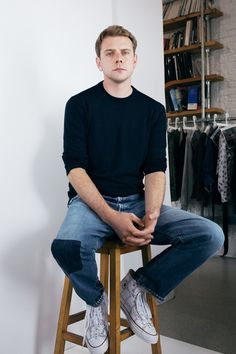 Jonathan Anderson wearing a pair of Chuck Taylors, designed for J. Anderson in collaboration with Converse J W Anderson, Of Brand, Chuck Taylors, Kicks, Converse, Normcore, Menswear, Street Style, How To Wear