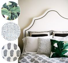 banana leaf print with dots and block print // bedroom styling via coco+kelley
