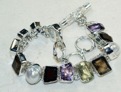 Smokey Quartz, Lemon Quartz,Amethyst Faceted,Pearl  bracelet designed and created by Sizzling Silver. Please visit  www.sizzlingsilver.com. Product code: BR-8360