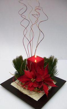 Beautiful Christmas wedding center piece!