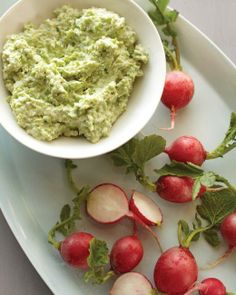 Spring Appetizer Recipes // Fava Bean and Goat Cheese Dip with Radishes Recipe
