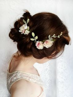 Hair up with flowers. pin veil under?