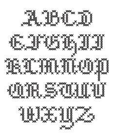 Nice gothic-like stitched alphabet.