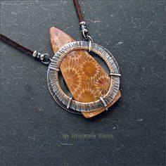 Струкова Елена - авторские украшения - Кулон с окаменелым кораллом