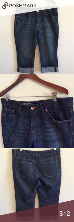 Merona Crop Dark Wash Cuffed Denim 👖14R Target Merona Crop jeans. Dark wash. Size 14R fit 1. Inseam 22 waist 18.5 Merona Jeans