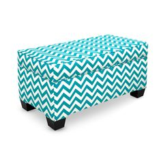 Have to have it. Skyline Zig Zag Teal and White Upholstered Storage Bench - $224.99 @hayneedle.com