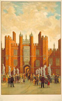 Hampton Court Poster by Charles Ernest Cundall London Transport Museum, History Of England, Hampton Court, London Underground, Vintage London, Kew Gardens, London Photos, Vintage Travel Posters, British Isles