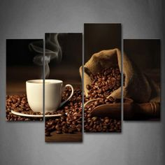 Brown A Cup Of Coffee And Coffee Bean. Wall Art Food Pictures Home Decor Gift #CoffeeBean #CoffeeBean