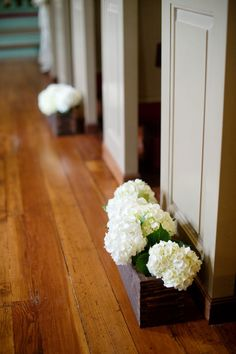 White hydrangeas aisle decor - Madison Georgia Wedding from Simple Color Photography + No Regrets Events