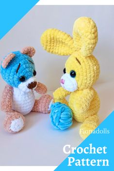 Crochet Bear Patterns, Crochet Bunny Pattern, Plush Pattern, Crochet Animals, Knitting Patterns, Crochet Ideas, Crochet Projects, Teddy Bear Toys, Bunny Toys