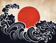 Afbeeldingsresultaat voor the wave japanese art Japanese Patterns, Japanese Prints, Japanese Design, Japanese Artwork, Art And Illustration, Illustrations, Pattern Illustration, Japanese Waves, Art Asiatique