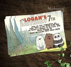 Desnudo osos invitación fiesta de cumpleaños  Pelado invitan