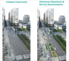 The proposed streetscape enhancement project for JFK and Market from 15th-20th Streets would transform these two corridors into an attractive space for pedestrians, improve accessibility for bicyclists and maintain traffic flow and loading.