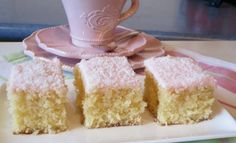 Coconut Slice Recipe Easy Delicious Old Fashioned Favorite Everyone is loving this Coconut Slice Recipe and you will too. It's another old fashioned fave that will be on your must make list. Coconut Recipes, Tea Recipes, Sweet Recipes, Cake Recipes, Dessert Recipes, Desserts, Recipies, Dessert Ideas, Mini Cakes