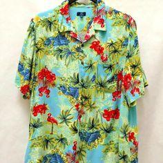 George 3XL Flamingo Palm Tree Tropical Hawaiian Shirt #George #Hawaiian #Casual #shirts #mensfashion #mensstyle #mensplussizefashion Mens Plus Size Fashion, Best Mens Fashion, Blue Backgrounds, Palm Trees, Flamingo, Online Price, Hawaiian, Casual Shirts
