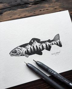 Little trout from today. Hope everyone's week is off to a good start! #trout #art #illustration
