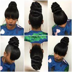 Hairstyle 17 Bun Hairstyles Worth A Steal - Bun Hairstyles 17 Bun Hairstyles Worth A Steal - Bun Hairstyles Curly Side Bangs Into High Bun Hairstyles Black Ponytail Hairstyles, Ponytail Styles, Weave Hairstyles, Straight Hairstyles, Girl Hairstyles, Curly Hair Styles, Side Ponytails, Bangs Hairstyle, Hairstyle Ideas
