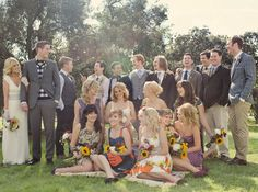 Real Wedding: Leeanne + Jacob's Backyard Wedding assortment of bridesmaid and groomsmen outfits