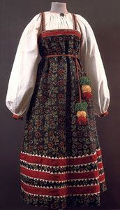 Sarafan, the Russian folk costume that was traditional dress for peasant women up until the 20th century. Middle and upper class women were quicker to discard the traditional costume - early in the 18th century - as a consequence of Peter the Great's efforts to modernize Russia.