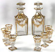 Fine 19th C. French Baccarat Crystal 2 Decanter & 8 Cordials Liqueur Service Set