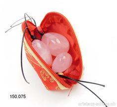 Pochette rouge - dorée pour Oeufs Yoni, avec fermeture éclair. OFFRE SPECIALE Quartz Rose, Sunglasses Case, Carnelian, Red Clutch, Zipper Pulls