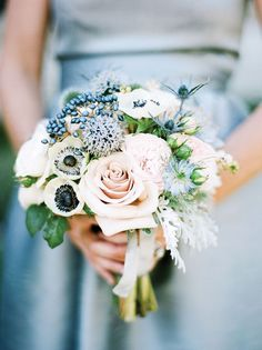gorgeous dusty blue and pink bridal bouquet