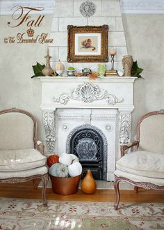 The Decorated House: ~ A Little Fall Home Tour ~ Vintage with New - Decorating the Fall Mantel