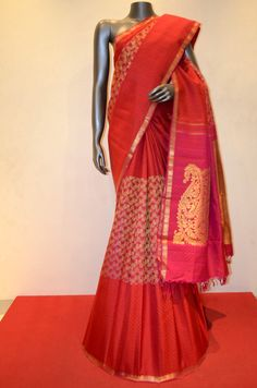 Stylish Bridal Kanjeevaram Silk Saree With Grand Zari Pallu Product Code: AB213103 Online Shopping: http://www.janardhanasilk.com/index.php?route=product/product&search=AB213103&description=true&product_id=4378