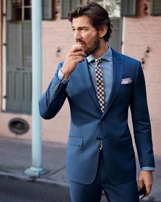 """What to Wear Today: An """"impress your boss"""" blue cotton suit. ( by @andersovergaardphotography) #WTWT #OOTD"""