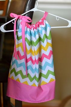 Pillow Case Dress Pastel Chevrons by OnTheMarkCreations on Etsy, $18.00