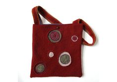 Upcycled/Recycled Sweater Bag/ Purse with Beaded Circle Appliqué, in Felted Red Wool with Purple Cotton Lining