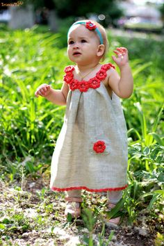 Linen organic coral flower dress / tunic crochet por TheBabemuse