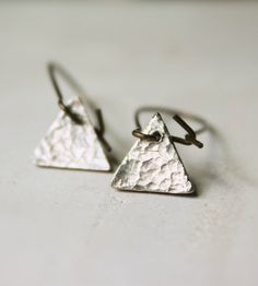 Textured Triangle Silver Drop Earrings | Jewelry Earrings | Caprichosa Jewelry | Scoutmob Shoppe | Product Detail
