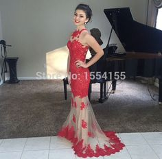 Vestido Noite New Fashion High Neck Appliques Lace Long Red Mermaid Evening Dresses 2015 Sweep Train Tulle Prom Dress