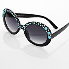 Round Crystal Sunglasses with Faux Turquoise Bubbles