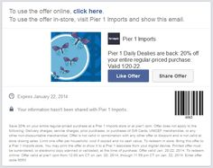Pinned January 20th: 20% off everything at Pier 1 #Imports, or online via promo code 6057 #coupon via The Coupons App