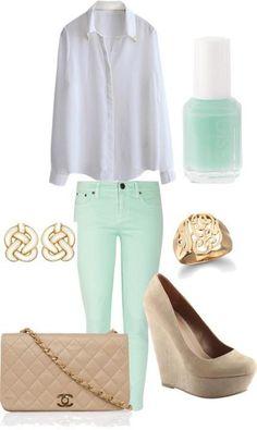 Cute Mint pants & polish