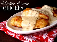 Butter Cream Chicken Recipe ~ Says: Sometimes it's the simplest of recipes that are the best. Simple ingredients, simple execution…simply delightful to eat and enjoy. This Butter Cream Chicken fits the description.  The chicken is lightly breaded in Ritz Crackers, pan fried (not deep fried) and topped with a heavenly butter and cream sauce.