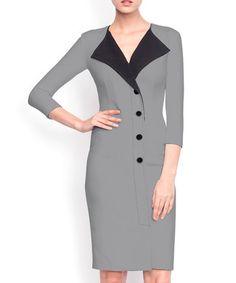 Grey contrast collar dress Sale - NISSA Sale