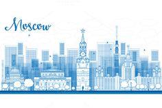 Outline Moscow City Skyscrapers by Igor Sorokin on Creative Market
