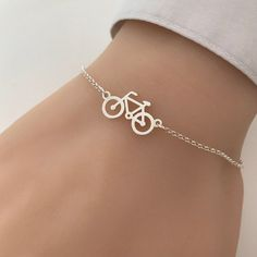 It is made of 925 sterling silver. Details: - Material metal: sterling silver - Bicycle measures approx - Adjustable bracelet length from to Please read our store polices before placing an order: Ankle Jewelry, Hand Jewelry, Jewelry Gifts, Jewelery, Fancy Jewellery, Stylish Jewelry, Cute Jewelry, Fashion Jewelry, Fashion Bracelets