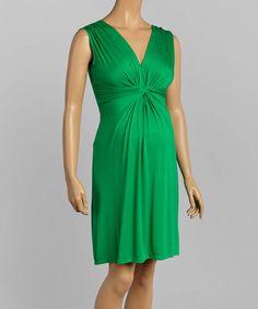 Look at this #zulilyfind! Green Gathered Maternity Dress #zulilyfinds